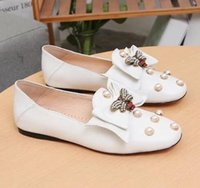 Wholesale blue pearl studs - Women 505291 Ballet Flat Pumps With Leather Bow Shoes,Pearls Studs,Metal Bee,Point Toe,with Dust Bag Box Receipt