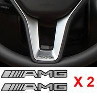 ingrosso logo del volante della nave-Adesivo per volante in Allumino AMG in lega da 2 PCS Logo Emblem S66 Spedizione gratuita