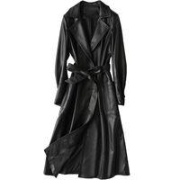 chaqueta de cuero genuino chaqueta de las mujeres al por mayor-Chaqueta de cuero genuino real de las mujeres tops 2018 otoño invierno abrigo mujeres rompevientos chaqueta de piel de oveja coreana zanja abrigo largo ZT383