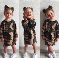 gömlekler kamuflaj toptan satış-INS bebek kız Kamuflaj T-shirt elbise sonbahar pamuk Çocuk Uzun kollu Prenses elbiseler Çocuk Giyim C2978