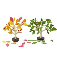Wholesale tree blocks resale online - Assembled Tree Wooden Toys Wood Green Leaves Building Intelligence Chopping Block Early Educational Children Day Kid Hot Sale br V