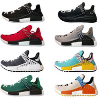 Wholesale pw black - New Pharrell Williams X Men Human race Trail Sneaker Earth & Body HU PW Women Running shoes Trainer sports shoes Rainbow size 36-47