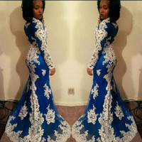 vestido sexy vestido del ejército al por mayor-Sirena de manga larga africana vestidos de baile Nueva aplique de encaje blanco palabra de longitud ilusión joya cuello vestidos de noche formales vestido de fiesta