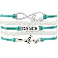 ingrosso fascino d'argento antico di balletto-Danza ballerino Ballet Shoes Cuore Infinity Love Charm Bracciali argento antico fatto a mano gioielli rosa donne uomini regalo Drop Shipping