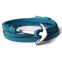 silber armband leder knebel großhandel-Leder Wrap Armband Frauen und Männer Silber Überzogene Anker Leder Armband Mode Armbänder Armreifen 9 Farben