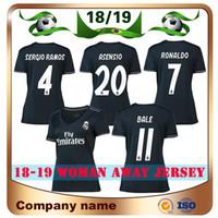 Wholesale ronaldo grey uniform for sale - 2018 Real Madrid Woman Away Black RONALDO Soccer Jersey ASENSIO ISCO lady shirt KROOS MARCELO Girl Football uniforms