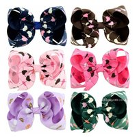 Wholesale heart hair bows - Baby girls Hairclips Grosgrain Ribbon Bow Clips Heart shape Hairpins Bubble Flower JOJO Bow Barrettes Kids Boutique Hair Accessories KFJ150