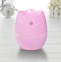 мини-светодиодная роза оптовых-1 шт. Cute Rose Design Mini USB Car Увлажнитель воздуха Светодиодный свет Эфирное масло Арома Диффузор Ароматерапия Home Office Mist Maker Fogger