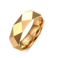anel de carboneto de tungstênio prata venda por atacado-Anéis de carboneto de tungstênio na moda para as mulheres 6 MM Rhombus Mens anéis de casamento de tungstênio EUA tamanho 6-11 ouro prata rosa opções de cor de ouro