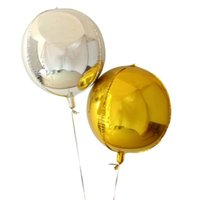 Wholesale aluminium cube resale online - 18inch D Cube Balloon Gold Silver Color Round Aluminum Foil Balloons Wedding Birthday Party Decoration Helium Balloon Toys z101