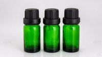 Wholesale cobalt glass for essential oils resale online - Hot ml Cobalt Green Glass bottles mini glass Vials Containers with euro dropper black tamper evident cap for essential oils