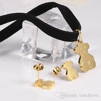 Wholesale coloured earrings - TL Stainless Steel Bear Jewelry Set Famous Brand For Women 2 Colours Gift Cute Fashion Popular