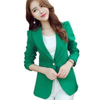 blazers de señora verde al por mayor-Verde azul negro mujer Blazers y chaquetas 2018 nueva primavera otoño moda solo botón Blazer Femenino Ladies Blazer femenino L18101302