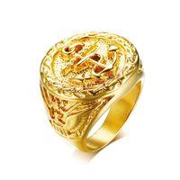 anker-ringe schmuck großhandel-Chunky Anchor Eagle Ring Für Männer Gold Farbe Cool Casting Sperrige Band Schmuck Herren Ringe Edelstahl Brüderliche Ringe Punk Männlichen Schmuck