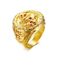 Wholesale mens stainless steel eagle ring resale online - Chunky Anchor Eagle Ring For Men Gold Color Cool Casting Bulky Band Jewelry Mens Rings Stainless Steel Fraternal Rings Punk Male Jewelry