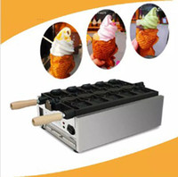 Wholesale electric fishing machine - 5PCS Open Mouth Korean Fish Waffle Maker Electric Taiyaki Machine Korean Taiyaki Pan Ice Cream Fish Shape Waffle Baker LLFA
