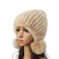 chapeaux de vison pour les femmes achat en gros de-Chapeau de mode femmes véritable chapeau de vison hiver chaud fourrure de vison en tricot Chapeau de boule de fourrure de femmes renard
