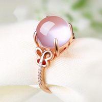 712c19393206 Anillos de piedra rosa joyería para mujeres mariposa conjunto ajustable  hueco estilo claro de cristal accesorios anillos para el regalo del  banquete de boda