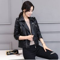 куртка большие лацканы оптовых-3XL Big size Fashion  Leather Jackets Women Rivet Zipper Motorcycle Faux Soft Leather Coat Female Paragraph Lapel PU Jacket