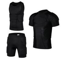 Wholesale armor vests - Honeycomb Pad Soccer Rugby Basketball Jersey Armor Vest Shorts T-shirt Anti Crash Sportwear Sport Safety Men's clothing