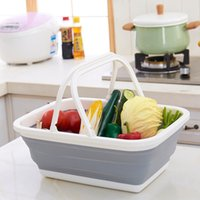 Wholesale hand sinks - Multifunction Folding Hand Basket Plastic Skep Practical Bathroom Sink Baskets New Pattern High Quality Simple Factory Direct 21ym X
