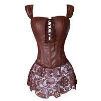 4275187193885 Wholesale steampunk clothing plus size for sale - Faux Leather Corset Dress  Steampunk Zip Corselet Gothic