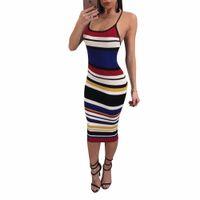 vestido de discoteca de alta moda al por mayor-CMYAYA 2018 Backless Beach Striped High Waist Summer Dress Lady mujeres Moda sexy Casual Vendaje discoteca Midi Vestidos A7554L
