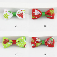 Wholesale printed webbing wholesale - New Fashion Kids Baby Girls Bowknot Hairpin Headdress Christmas Gift Printed Ribbons Hairpin Hair Webbing Assessories