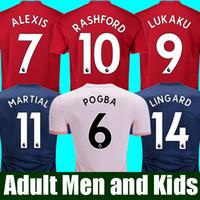 jerseys de fútbol para hombres al por mayor-18 19 FC Manchester United Soccer Jersey 2019 Hombre Jersey UTD POGBA LUKAKU RASHFORD ALEXIS Kit de camiseta de fútbol HOMBRES adultos y KIDS uniformes