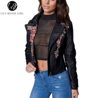Wholesale womens jackets leather - Lily Rosie Girl Floral Embroidery Faux Leather Jacket Long Sleeve Zipper Suede Womens Coat Autumn Winter 2017 Streetwear Outwear