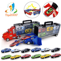 autos rennen gesetzt großhandel-Transport Carrier Truck Set mit 12 bunten Mini-Mental Die Cast-Autos Innovative Racing Game Map - Auto Transporter Spielzeug für Kinder Spielzeug