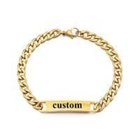 ingrosso regali speciali per gli uomini-Il braccialetto di nome dell'acciaio inossidabile delle donne degli uomini del braccialetto dell'oro personalizza il regalo di compleanno speciale delle lettere Dropshipping