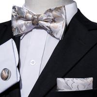 pajarita de seda dorada al por mayor-Patrón de oro y blanco para hombre pajarita de seda que teje la venta al por mayor estándar de alta calidad que libera el envío LH-0801