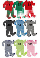 Wholesale suits new style for girl resale online - 2pcs Christmas Set New Year Girls Stripe Long Sleeve Top Pants Suit Home Clothing for different styles