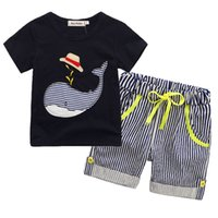 Wholesale Boys T Briefs - 2018 New Children's Clothing Boys Summer Sets Whale T-shirt and Striped Shorts Sports Suit Brand Children Boy Baby Kids Outfits TO522