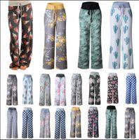 Wholesale long yoga pants for women for sale - Women Floral Yoga Lounge Sport Wide Leg Casual Loose Long Pants Trousers Long pants for women Yoga pants KKA4392