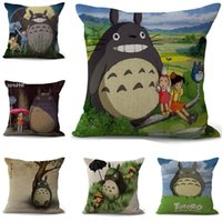 totoro bed al por mayor-Cartoon totoro Funda de Almohada Bohemia cama animal Funda de Almohada Algodón Lino étnico coche Funda de Almohada Sofá Dormitorio Throw Cojín funda de Almohada