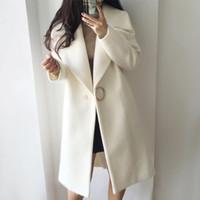 beyaz şık kış ceketleri toptan satış-2017 Beyaz Yün Karışımı Ceket Kadınlar Yaka Uzun Parka Kış Ceket Koza Tarzı Zarif Yün Ceket Kalınlaşmak Kadın Giyim C3745