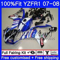 kit de corpo yamaha r1 preto venda por atacado-Injeção branco estoque preto Corpo Para YAMAHA YZF R 1 YZF 1000 YZFR-01 08 227HM.11 YZF R1 07 08 YZF-1000 YZF-1000 YZF-R1 2007 2008 Kit de Carenagem