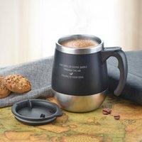 lens tozu toptan satış-Çevre dostu 450 ml Kupa Kahve Fincanı Paslanmaz Çelik Süt Çay Kupa Kolu Ile Kupaları Tutun Anti-Toz Kahve Kupaları Mühür Kütle Çay Su Şişesi