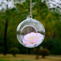 Wholesale glass table vase - Surelife 12pcs 8cm Clear Round Hanging Glass Vase Bottle Terrarium Hydroponic Planter Pot Flower Diy Home Table Garden Decor
