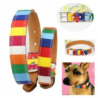 Wholesale wholesale rainbow dog collars - Pet Dog Rainbow Leather PU Collar S M L XL 2XL Colorful Plain Skin Collar With Buckle For Cats Dog Puppy AAA595