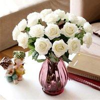 ingrosso nave di goccia del fiore di seta-Nuovo disegno 20pcs lattice artificiale rose fiori tocco reale fiori di seta bouquet da sposa floreale decorazione del partito a casa trasporto di goccia
