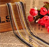 cinturón negro cadenas de oro al por mayor-Oro plateado negro 1.5mm 2.4mm 70cm cadena del grano Collares bola de bolas cadena de cuentas de acero inoxidable Hebilla del cinturón Collares