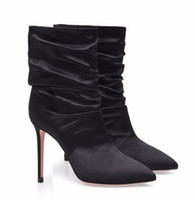 Wholesale slouch boots for sale - Group buy Women White High Heel Slouch Boots Black Satin Ankle Booties Pointed toe Slip on Wrinkled Stylish Short Boots Evening Pumps