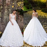 Wholesale fit flare wedding dress train resale online - 2019 Spring Butterflies Hand Made Flowers Flare Fitted Bridal Wedding Dresses New Sheer Neck Cap Sleeves Appliques Long Bridal Gowns BA9960