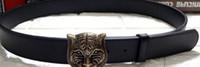 Wholesale Heavy Leather Belt - Mens Belts Luxury 3D Tiger Head heavy metal Belt Buckle Genuine Leather Men Belt western Cowboy punk rock style Jeans Ceinture Cinturones