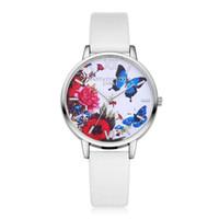 reloj de cuarzo mariposa al por mayor-Lvpai bayan saat 2018 Mujeres Relojes Mariposa Impreso Negocio Reloj de pulsera de cuarzo Casual Correa de cuero Reloj