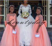 gros corail achat en gros de-2019 Nouvelles robes de filles de fleur de corail pour Boho mariages africains demi-manche pleine longueur Big Bow enfants première communion robes anniversaire