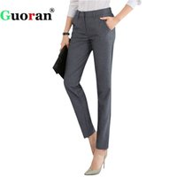 Wholesale applique work suits - {Guoran} High Quality Women Formal Office Work Pants Black Grey Business Suit Trousers Plus Size 4xl Ladies OL Pencil Pants